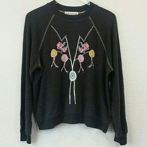 Wildfox S Bolo Tie On Black Sweater Burnout Small